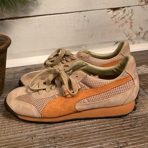 Puma Womens Textile Leather Orange Tan Green